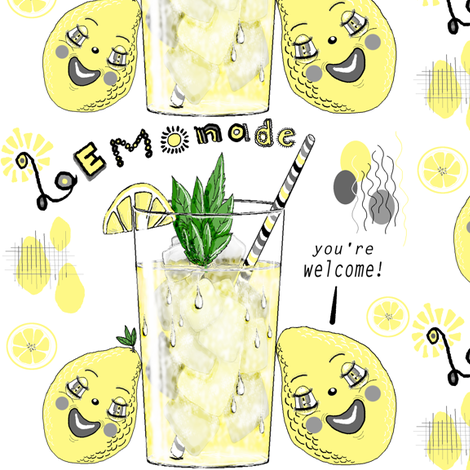You're Welcome, love, The Lemons, large scale, white yellow gray grey black fabric by amy_g on Spoonflower - custom fabric