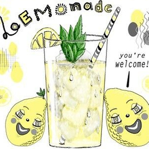 You're Welcome, love, The Lemons, large scale, white yellow gray grey black