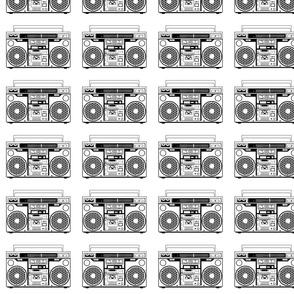 boombox black and white