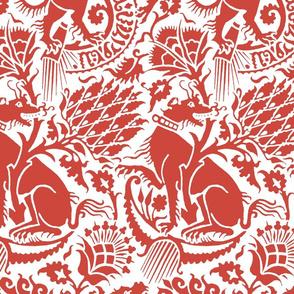 Renaissance Damask in Crimson