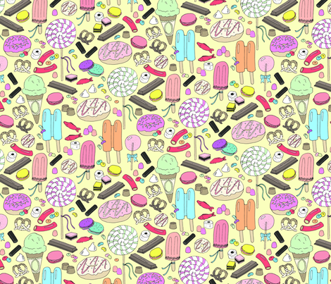 sweet tooth on yellow fabric by emmakisstina on Spoonflower - custom fabric