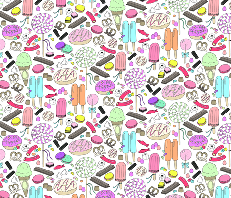 sweet tooth white fabric by emmakisstina on Spoonflower - custom fabric