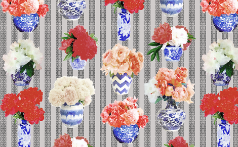 Ginger_Jar_Peony in Grey fabric by danikaherrick on Spoonflower - custom fabric