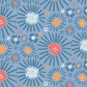 Fringe Burst Flowers in Blue