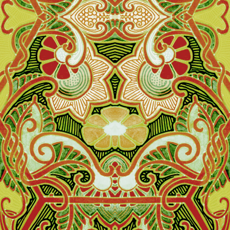 Asian Paisley Leaf Squirm fabric by edsel2084 on Spoonflower - custom fabric
