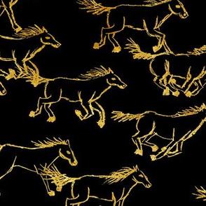 wild wild horses - gold on black