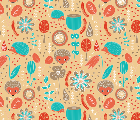 Hedgehog Playground Colorway 2 fabric by melarmstrongdesign on Spoonflower - custom fabric