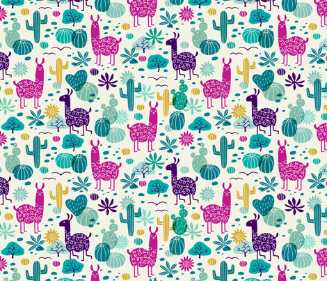 Llamas in the desert turquoise/purple fabric by heleen_vd_thillart on Spoonflower - custom fabric