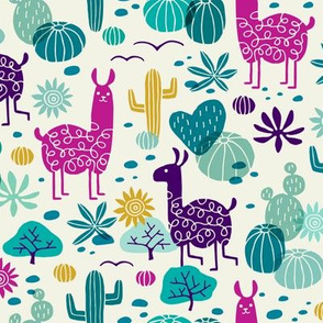 Llamas in the desert turquoise/purple