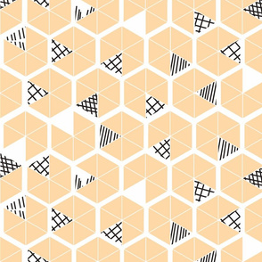 Crowded Geometric umbrellas in apricot