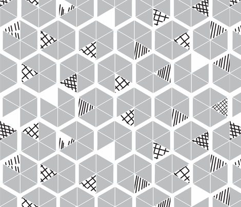 Crowded Geometric umbrellas in soft grey fabric by pip_pottage on Spoonflower - custom fabric