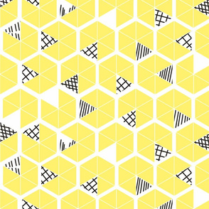 Crowded Geometric umbrellas in lemon