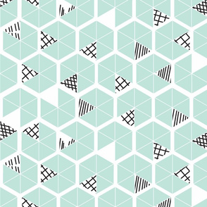 Crowded Geometric umbrellas in mint