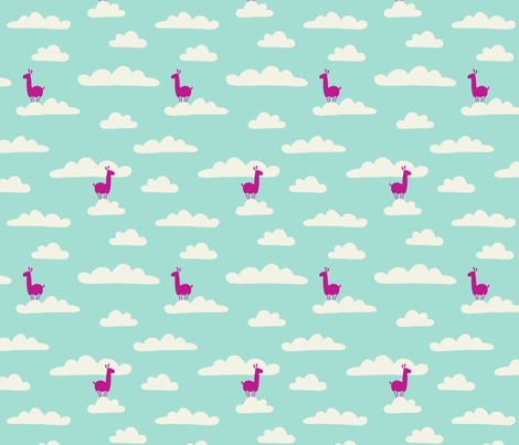 Llama in the clouds fabric by heleen_vd_thillart on Spoonflower - custom fabric