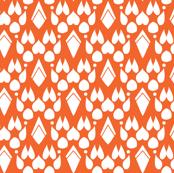 Fox Footprint Damask - White on Burnt Orange