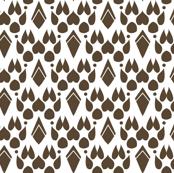 Fox Footprint Damask - Brown on White