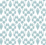 Fox Footprint Damask - Blue on White