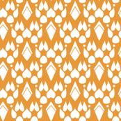 Fox Footprint Damask - White on Pumpkin Orange