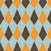 Offbeat Argyle - Blue, Brown and Pumpkin Orange