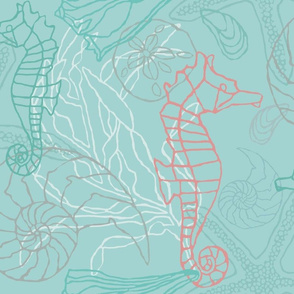 Seahorses & Seashells in Blue/Green Tones