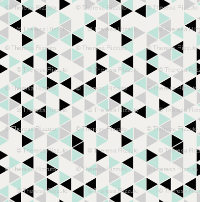 Railroaded triangles, cool mint, black and gray