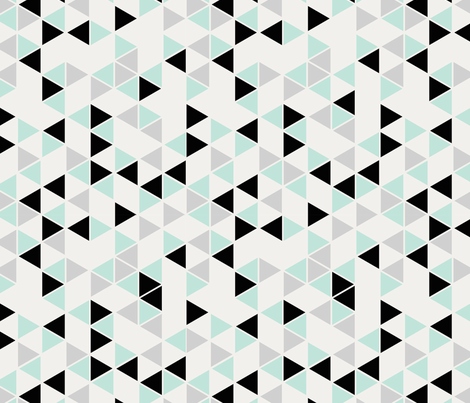 Railroaded triangles, cool mint, black and gray fabric by trizzuto on Spoonflower - custom fabric