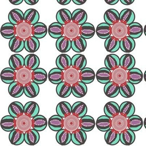 Red, purple and mint patterned flower
