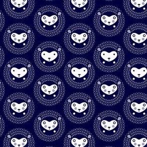 Hedgehog polka dot small - indigo