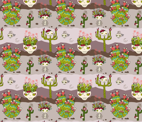 cactus desert fabric by skellychic on Spoonflower - custom fabric
