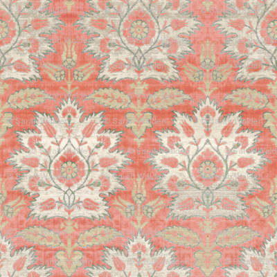 Carnations and Tulips Damask Ikat ~ Mint and Coral