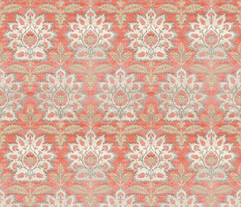 Carnations and Tulips Damask Ikat ~ Mint and Coral  fabric by peacoquettedesigns on Spoonflower - custom fabric