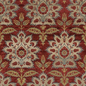 Carnations and Tulips Damask Ikat