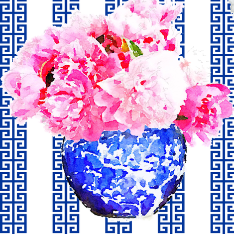 ginger_jar_peony_greek_stripe fabric by danikaherrick on Spoonflower - custom fabric