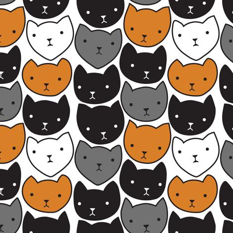 Cat Heads Calico fabric by janekenstein on Spoonflower - custom fabric