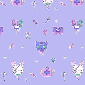 Cute Hospital Medical Pattern - PURPLE
