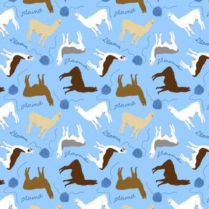 Little Llamas with yarn - blue
