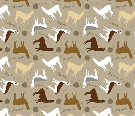 Little Llamas with yarn - brown fabric by rusticcorgi on Spoonflower - custom fabric