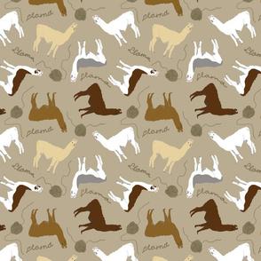 Little Llamas with yarn - brown
