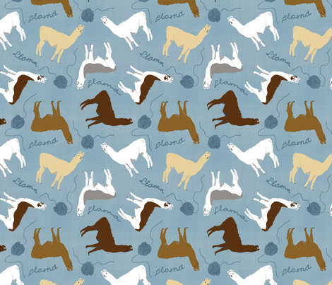 Little Llamas with yarn - blue linen fabric by rusticcorgi on Spoonflower - custom fabric