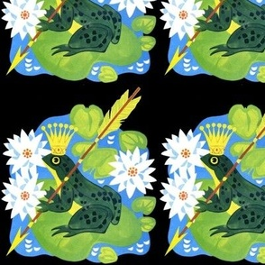 fairy tales folk lore frogs toads prince crowns water lily pads flowers leaves arrows lotus rivers lakes ponds vintage retro kitsch