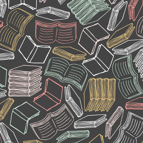 So Many Books... (Mint and Coral) fabric by robyriker on Spoonflower - custom fabric