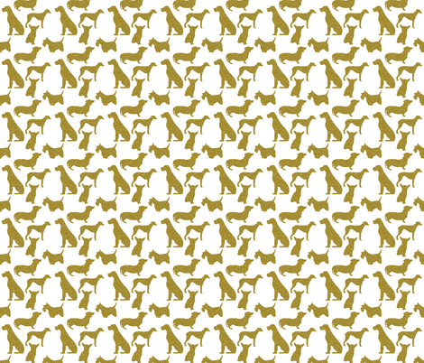 Gold Dogs on White fabric by blackwooddesign on Spoonflower - custom fabric