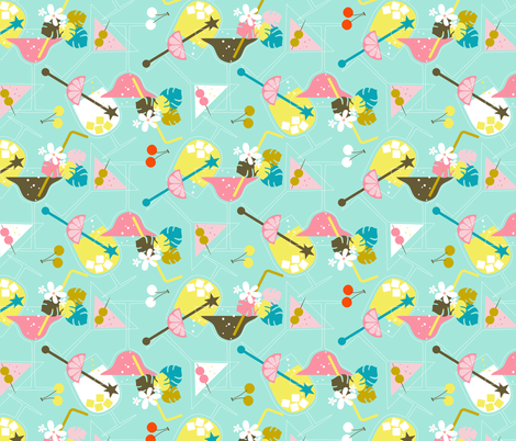Pink Flamingo Cocktails fabric by zesti on Spoonflower - custom fabric