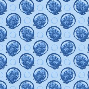 Collared Affenpinscher portraits - blue