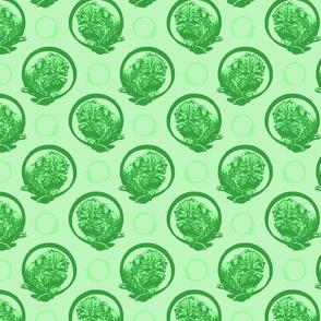 Collared Affenpinscher portraits - green