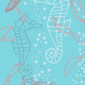 Kelp, Conch & Seahorses on Blue