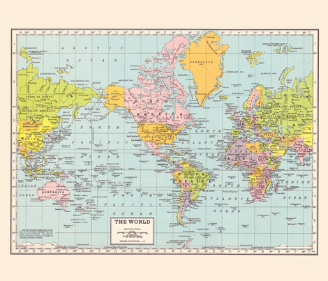 World Map - Vintage fabric by aftermyart on Spoonflower - custom fabric