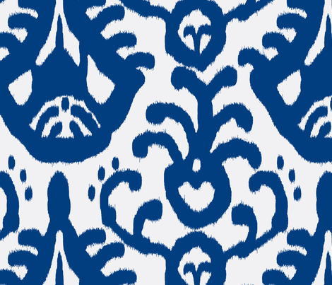 Navy Ikat Reverse  fabric by domesticate on Spoonflower - custom fabric