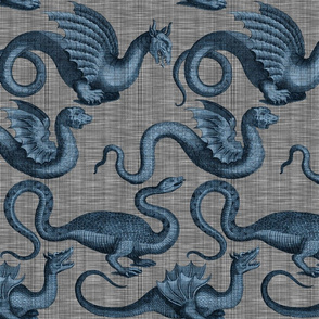 Draco ~  Dastardly Blue on Steel Linen Luxe