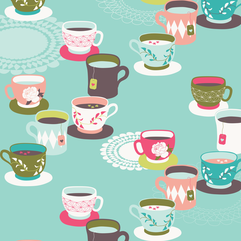 Spring Tea Garden Aqua Tea Cups fabric by zesti on Spoonflower - custom fabric